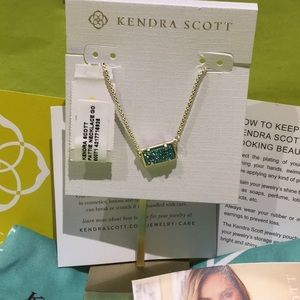 Kendra Scott Pattie necklace gold aqua drusy